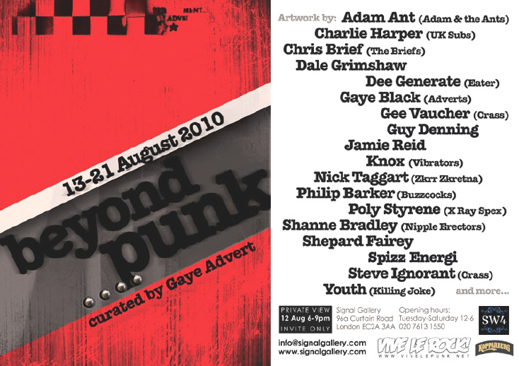 'Beyond Punk' - Curated by Gaye Advert - August 13th - August 21st 2010, Signal Gallery, London