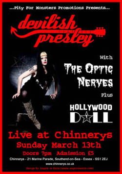 Southend Punk Rock History - 21st Century Events - Devilish Presley Southend Gig #3 - Devilish Presley + The Optic Nerves + Hollywood Doll - Live at Chinnerys - 13.03.11