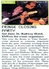 Southend Fringe Festival Closing Party Featuring Phillious Williams, Sicknurse and Steve Hooker - Live at The Railway Hotel, Southend June 26th, 2010