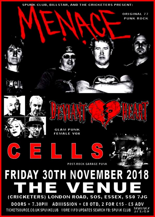 Menace + Deviant Heart + Cells - Live at The Venue, Westcliff-on-Sea, Essex - Friday November 30th, 2018