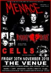 Menace + Deviant Heart + Cells - Live at The Venue, Westcliff-on-Sea, Essex - Friday November 30th, 2018 - Poster
