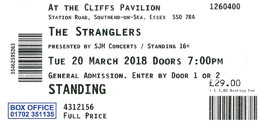 The Stranglers + Therapy? - Live at The Cliffs Pavilion, Southend-on-Sea, Essex - Tuesday March 20th, 2018 - Ticket