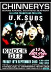 U.K. Subs + Knock Off + 16 Guns - Live at Chinnerys, Southend-on-Sea, Essex - Friday September 18th, 2015 - Poster