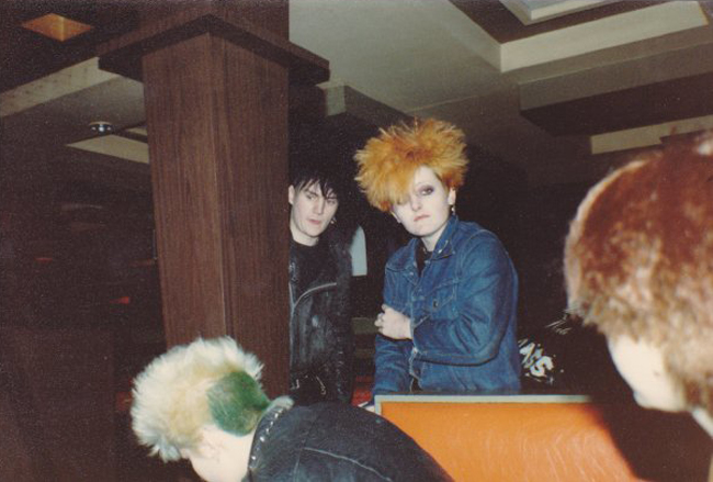 Chelmsford Punks - Kathy, Mould and Debbie in Bar in Ostend 20.02.82