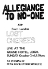 Allegiance To No One + The Lost Cherees - Live at The Grand - 02.10.83 - Poster