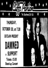 The Damned - Live at The Cliffs Pavilion - 30.10.86 - Press Advert