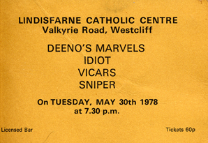 Idiot live at The Lindisfarne Catholic Centre - 30.05.78 - Ticket