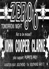 John Cooper Clarke + Puppets Prey - Live at The Zero 6 - 21.11.83 - Press Advert