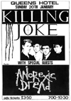 Killing Joke + Anorexic Dread - Live at The Queens Hotel - 20.01.85 - Poster