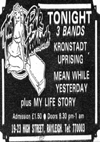 The Kronstadt Uprising + My Life Story + Meanwhile Yesterday - Live at The Pink Toothbrush - 17.10.85 - Press Advert