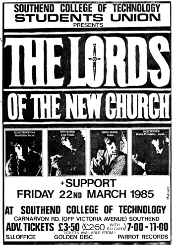 The Lords of The New Church - Live at The Southend College of Technology - 22.03.85 - Poster