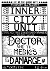 Nick Turner's Inner City Unit + Doctor and The Medics + Damarge + DJ The Dream Maker - Live at The Queens Hotel - 17.01.85 - Poster