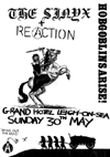 The Sinyx + Reaction (Nightmare) - Live at The Grand Hotel, Leigh - 30.05.82 - Poster