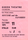 Siouxsie and The Banshees - Live at The Odeon Theatre, Chelmsford - 11.10.79 - Ticket