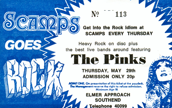 The Pinks - Live at Scamps - 29.05.80 - Ticket
