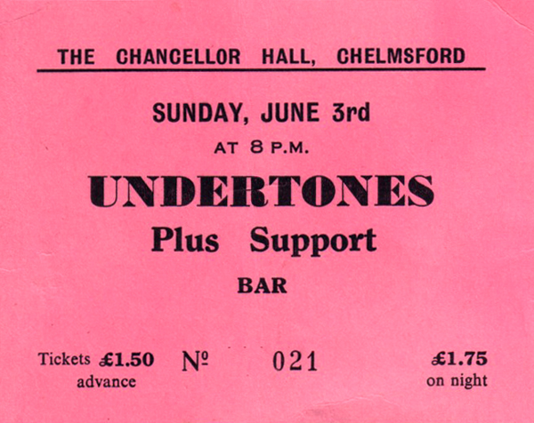 The Undertones / Shake - Live at The Chancellor Hall, Chelmsford - 03.06.79 - Ticket