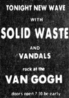 Solid Waste and The Vandals - Live at The Van Gogh - 15.05.78 - Press Advert