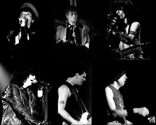 L-R: Johnny Thunders, Jerry Nolan, Stiv Bators, Joey, Dee Dee and Johnny Ramone