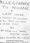 Allegiance To No One + The Last Laugh + Beergut One Hundred + The Beers In Brothers + Ian Fry - Live at Focus - 22.11.82 - Poster