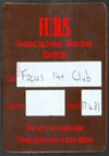 Focus Youth Centre - Membership Card - 1980 / 1981