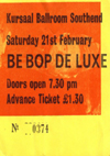 Be Bop Deluxe / Doctors of Madness - Live at The Kursaal Ballroom - 21.02.76 - Ticket