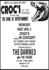 The Damned + The Vicars - Live at Crocs - 04.04.79 - Press Advert