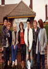 Waiting at a Bus Stop in Rayleigh to go to Shrimpers: L-R: Lee, Tracy, Karen, Ita, Mark, Donna + Sister - 25.05.80