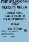 The Blow Monkeys and Le Mat and Third Section - Live at The Queens Hotel - 20.01.85 - Ticket