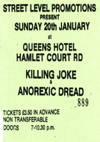 Killing Joke + Anorexic Dread - Live at The Queens Hotel - 20.01.85 - Ticket