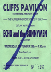 Echo and The Bunnymen - Live at The Cliffs Pavilion - 26.09.84 - Ticket