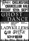 Ghost Dance + The Ladykillers + Gun Supper + Scrapheap - Live at The Chancellor Hall, Chelmsford - 12.09.86 - Poster