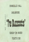 The Buzzcocks / The Slits - Live at The Chancellor Hall, Chelmsford - 12.03.78 - Ticket