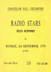 The Radio Stars - Live at The Chancellor Hall, Chelmsford - 03.09.78 - Ticket