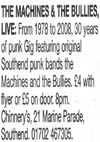 The Machines + The Bullies - Live at Chinnerys - 21.08.08 - Evening Echo Gig Listing