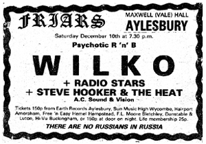 Psychotic R 'n' B - Wilko, The Radio Stars and Steve Hooker and The Heat - Live at Friars, Aylesbury - 10.12.77