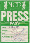 The Cards - Pass from last Jam gig - 11.12.82