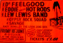 Dr. Feelgood + Eddie & The Hot Rods + Lew Lewis Band + Gypsy Rock Squad + Savage + Andy Dunkley The Livin Jukebox - Live at The Paddocks, Canvey - 10.06.77 - Poster
